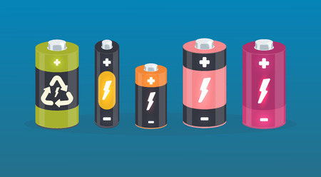Set of vector battery cylinder elements with lightning, plus and minus signs. Isolated accumulators. charging icon. Illustration