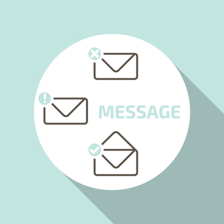 Vector flat icons. Outline envelope . read now or later.  prohibition sign and  tick check mark. Missed and answered mesages.