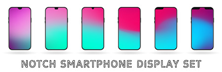 Different vector smartphone display set with notches and colorful abstract vector mesh wallpaper. Mobile realistic mockup with front camera and speaker Ilustração