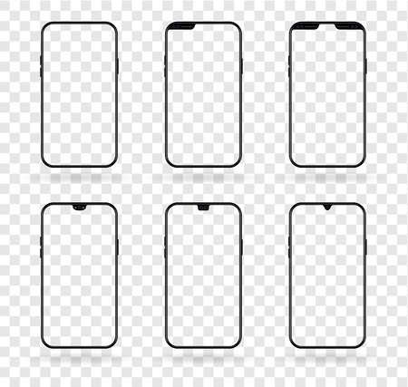 Vector different  notch smartphone display set isolated on transparent. Mobile realistic mockup with front camera and speaker variable size and position
