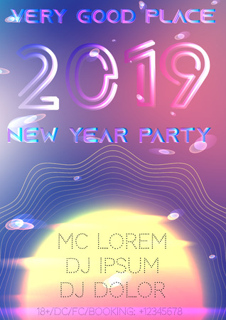 New year 2019 party cover.  Bright neon abstract space vector elements. Future glitched sun,  rings, planets, particles, quantum. Mockup a4 template, web brochure