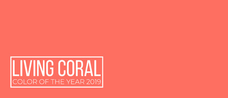 Living coral color of the year vector cover. monochromatic  background