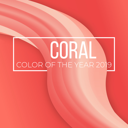 Living coral color of the year vector cover. abstract background with wave liquid flow shape.  Art design for business poster, presentation, book, magazine Иллюстрация