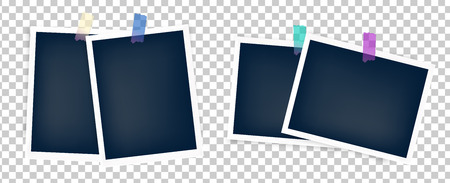 Photo frames batch  mockup glued with color tape . Realistic empty templates.  イラスト・ベクター素材