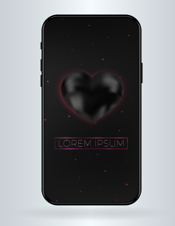 New vector mobile smartphone mockup . Realistic high quality phone concept with camera. Template For UI design display  without notch and frame. Black background with black heart