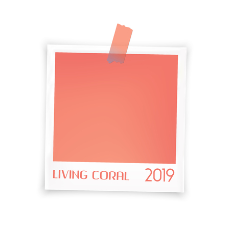 Living color. Photo frames batch  mockup glued with color tape . Realistic empty templates.  Vector illustration