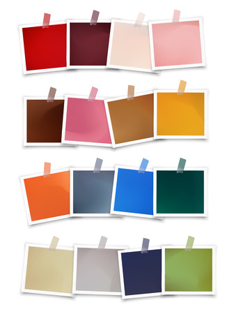 Swatch palette of trendy color Autumn winter 2019 2020 season in vector photo frames. Colorful sample design