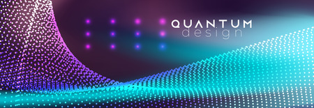 Abstract futuristic background. Neon spotlights on fluid backdrop. Glowing lines with smoke highlight space.. Dotted waves mockup