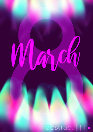 8 march international womans day. Abstract neon glowing bright transparent flowers and flame.