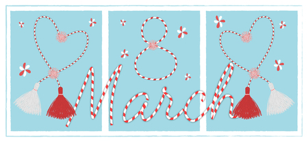 Banner for the International Womens Day. March 8 postcard  with the handmade martisor pom-pom celebrating elements and lettering  decor Illustration