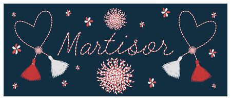 Banner for the Martisor celebrating postcard  with the handmade  pom-pom elements and lettering  decor Illustration