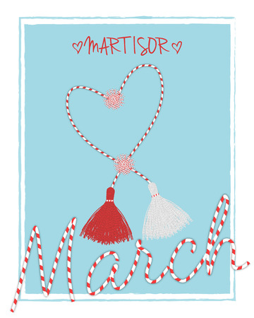 Martisor hello spring march  postcard with handmade  pom-pom celebrating elements and lettering