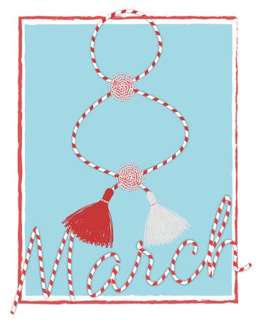 International Womans day 8 march  postcard with handmade martisor pom-pom celebrating elements and lettering Stock Vector - 119729537