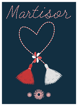 Banner for the Martisor celebrating postcard with the handmade pom-pom elements and lettering decor