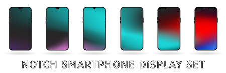 Different vector smartphone display set with notches and colorful abstract vector mesh wallpaper. Mobile realistic mockup with front camera and speaker Иллюстрация
