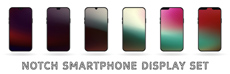 Different vector smartphone display set with notches and colorful abstract vector mesh wallpaper. Mobile realistic mockup with front camera and speaker. Hologram pink creme and green colors Ilustração