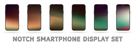 Different vector smartphone display set with notches and colorful abstract vector mesh wallpaper. Mobile realistic mockup with front camera and speaker Hologram pink creme and green colors