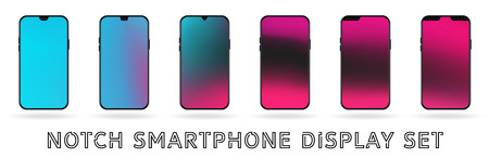 Different vector smartphone display set with notches and colorful abstract vector mesh wallpaper. Mobile realistic mockup with front camera and speaker. blue and pink