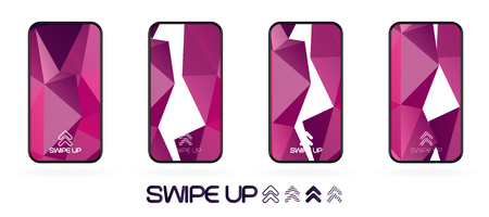 Triangular polygonal geometric abstract background with swipe up icon. Bright violet and dark  purple shapes. Smartphone frame template. Social media app UI