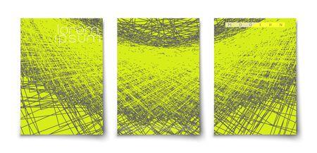 Modern flat minimalistic geometric abstract covers. Grunge careless lines art.
