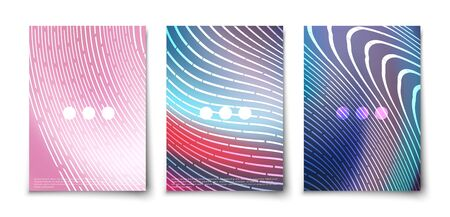 Futuristic glowing lines abstract backgrounds cover templates set. Northen glow. Neon. Geometric blend elements. Stock Illustratie