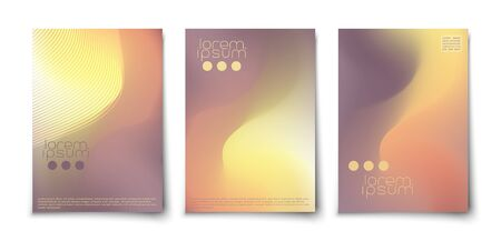 Trendy mesh minimal abstract covers set. Vibrant background with glowing blended lines.