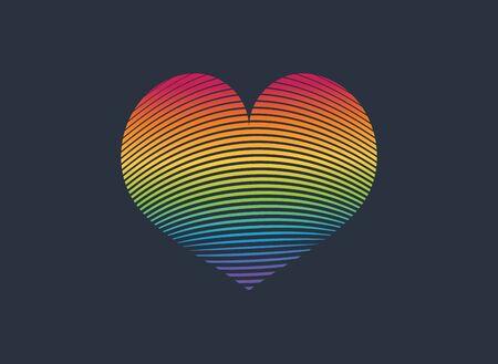 Heart Icon Vector. LGBT rainbow colored logo Ilustração