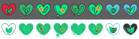 Hand drawn style eco icons. Vector doodle go green logo collection.