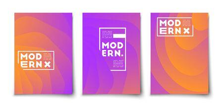 Halftone gradient minimal vector cover design. Trendy shapes overlap