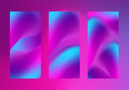 Fluid abstract shapes in blurred liquid smoky background. Vector smartphone,  leaflet, flyer vertical backdrops set. Neon glowing ultraviolet and blue blur color splash objects. High resolution