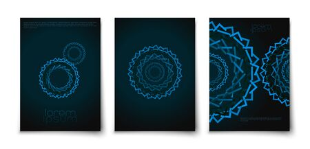 Techno abstract creative gear spiral shape circle covers mockup. Blurred futuristic tunnel with dark background. Minimalist lines texture leaflet template