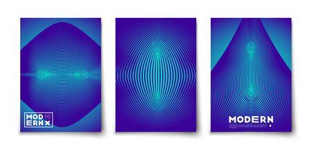 Maqueta de conjunto de diseño de cubiertas de textura de elementos abstractos geométricos de vector mínimo. Figuras de línea con degradados de semitonos