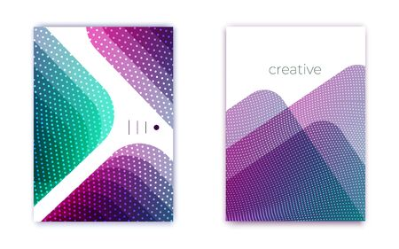 Multicolored geometric abstract shapes with glowing spots pattern. Dotted trendy techno arrow. Simple vector background on white. Vertical oriented template for cover, banner, presentation Vectores