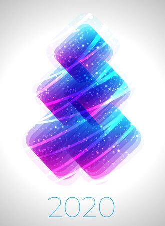 Christmass tree lights abstract vector design. Transparent gradient geometric shapes Vectores