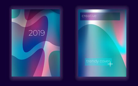 Modern gradient mesh vector cover set. Abstract background. creative geometric fluid  wallpaper.  glow Vectores