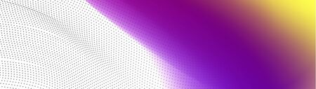 Wavy colorful gradient violet to yellow splash with transparent dotted lines areas. smoke vector abstract widescreen background.