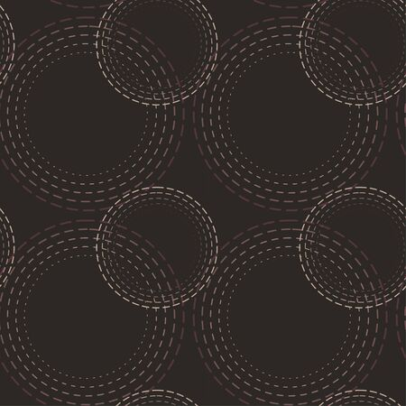 Abstract circles geometric seamless pattern vector. Dotted dashed stroke. Flat minimalistic design Vectores