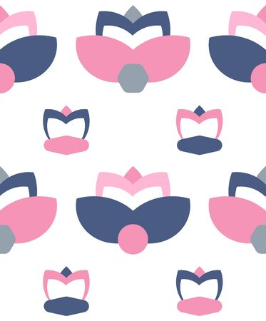 floral flower lotus  flat vector seamless pattern