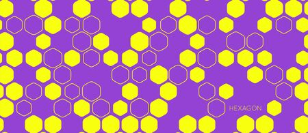 Hexagon seamless pattern geometric vector background. Abstract minimalistic flat simple honeycomb yellow and violet bright design