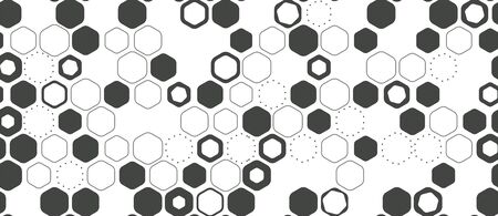 Hexagon seamless pattern geometric vector background. Abstract minimalistic flat simple honeycomb design Vectores