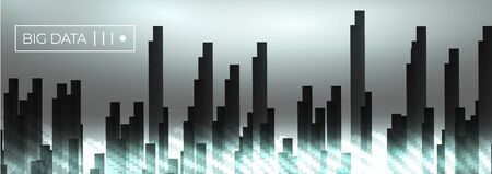 Big data dark block glowing wave vector background. City buildings in foggy white data flow particles. Vector neuro network concept.