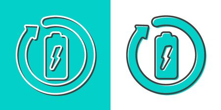 Battery recycling vector logo. Proper disposal icon. Charging icon. Flat design