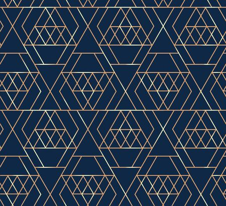 Abstract diamonds geometric lines seamless pattern. Shining  brilliant rock golden edge . Vector triangular grid.