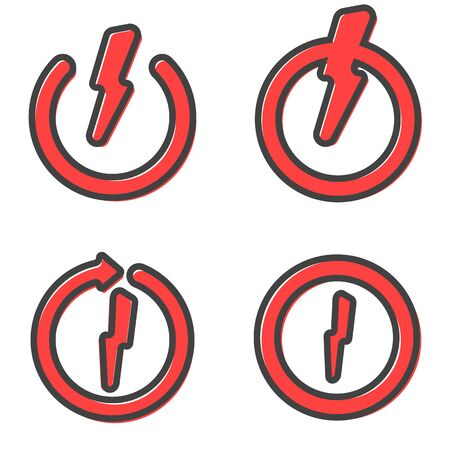 Reboot , recharge vector icon with lightning Charging icon set. Flat outline design.  red rounded arrow circle sign Vectores