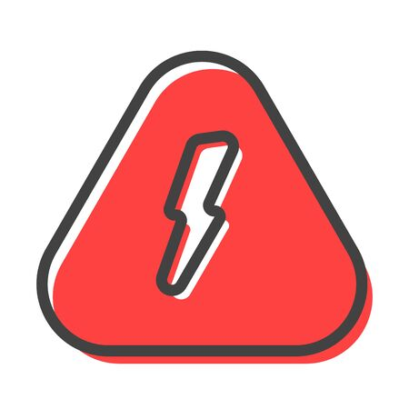 Lightning electric danger outline triangular rounded corners sign vector. High voltage prohibition attention icon