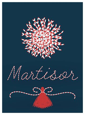 Martisor celebrating postcard vector template. With pom-pom elements. 1 march first spring holiday background Vectores