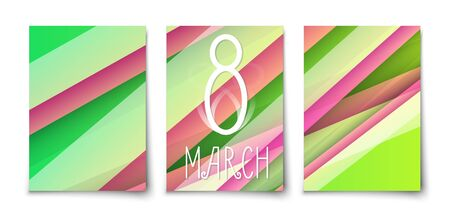 8 march spring tulip colors abstract geometric lines background. International Womans day trendy template Vectores