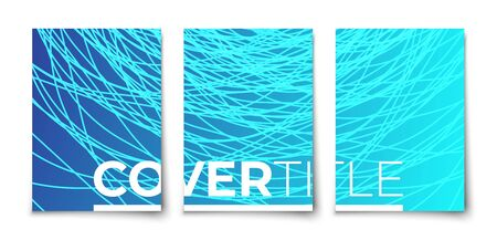 Grunge glowing swirl line marine color vector  halftone gradient covers set . abstract design mockup.