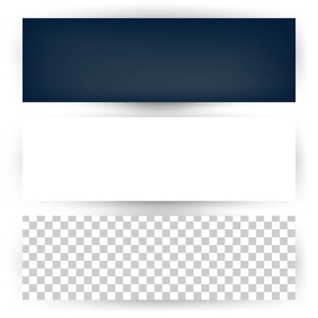 Empty horizontal banner set with shadow template.  Dark, transparent and white background Vectores