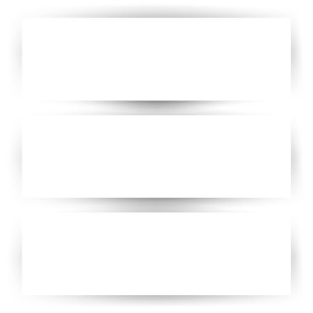 Empty horizontal banner set with shadow template. MOckup with white background